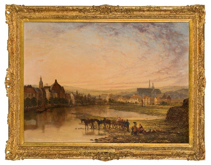 Sir Augustus Wall Callcott RA, British 1779-1884- A view of Dordrecht at Sunset, c.1830-40; oil on canvas
