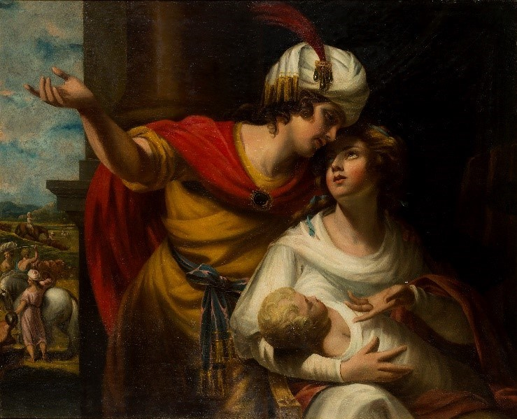 Studio of George Romney, British 1734-1802- The Departure for Canaan: Jacob and Rachel with the infant Joseph; oil on canvas