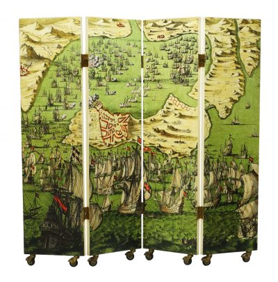 Piero Fornasetti (1913-1988), a four fold screen c.1954, unsigned A lithographic transfer printed and lacquered four fold screen on casters Printed to one side with 'Battaglia Navale' pattern and to the other side with 'Lesene' pattern