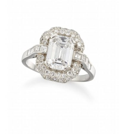 Lot 211 An important diamond single stone ring, weighing 2.21 Sold £18,450