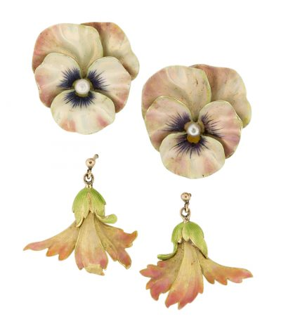 Lot 239: Two pairs enamel floral earrings. one pair designed as pansy flowerheads