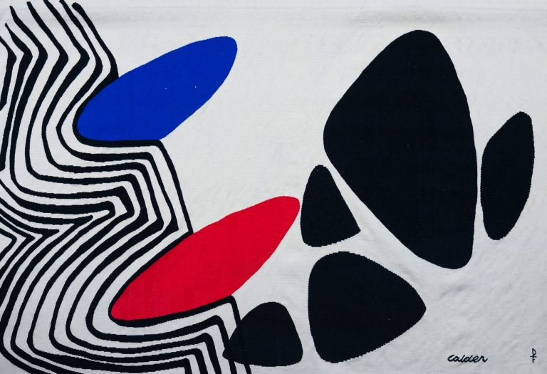 "Alexander Calder, American 1898 – 1976 ""Blue and Red Nails"" c.1975; handwoven"