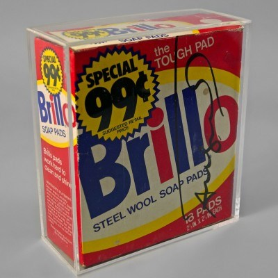 "Andy Warhol, American 1928-1987 ""Brillo Box""; mixed media marker on cardboard. Signed in black marker pen, in a perspex case Sold for £2,952"