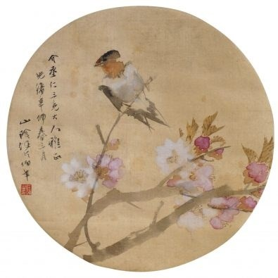REN YI (REN BONIAN, Chinese, 1840-1895), bird on plum blossom, ink and colour on silk, hanging scroll, dated to spring of 1891, signed with artist's seal, 25cm diameter