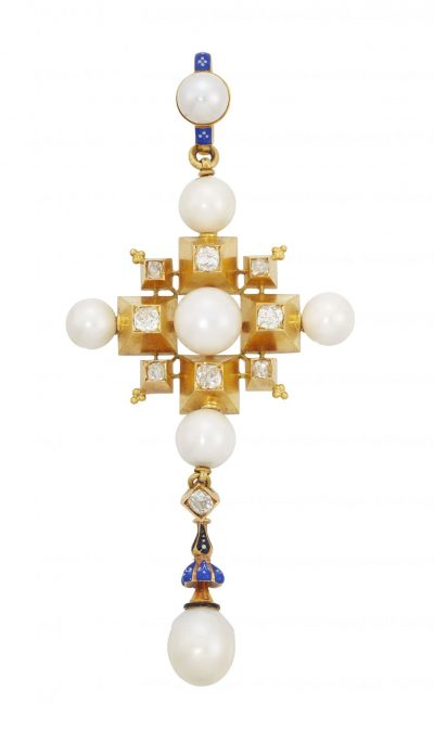 A 19th century gold, diamond, pearl and enamel Renaissance Revival pendant, by Carlo Giuliano
