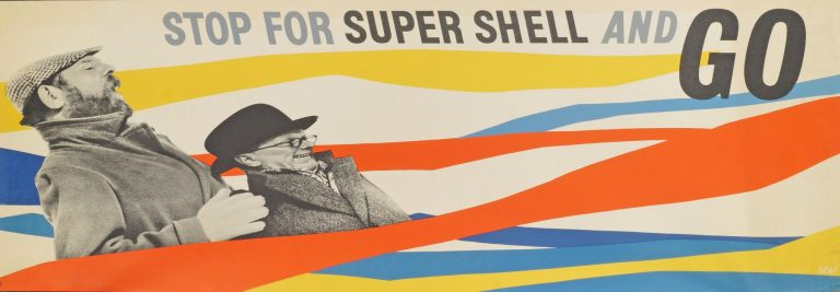 "Lot 36 ""Stop for Super Shell and Go"", lithographic poster in colours, 1938, 38.1x111.1cm Estimate £600 - £800"