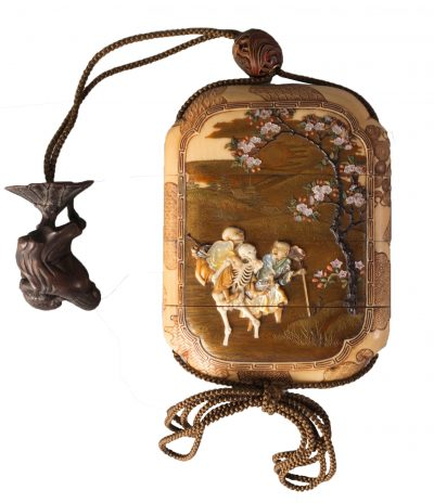 A fine ivory and Shibayama four-case inro by Nemoto, Meiji, finely lacquered in hiramaki-e, takamaki-e and kiragani-e and inlaid in amethyst, coral, hardstone, mother of pearl and ivory