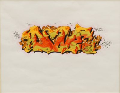 Lot 471, by American Artist Daze born in 1962. The worked entitled Dazed, Love is a watercolour and black ink – signed and dated 1981. The piece was purchased in June 1981 by the current owner directly from Graffiti Aboveground Gallery, New York.