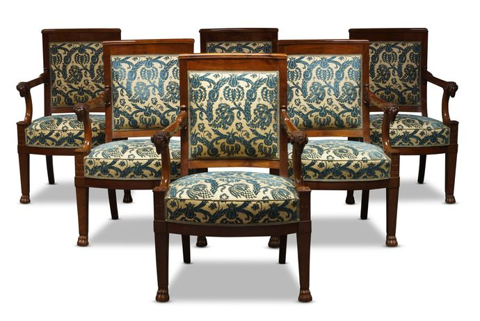 A set of six Empire mahogany fauteuils, attributed to Francois-Honoré-Georges Jacob Desmalter, circa 1810