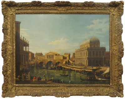 Lot 62: After Giovanni Antonio Canal, called Canaletto, Italian 1697-1768 Venetian Capriccio showing Palladio's design for the Rialto Bridge and a Venetian Capriccio with Palladian-style buildings – £32,000 (£40,00 with premium).