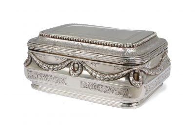 Lot 65: A French silver sugar box by Andre Aucoc – £400-600