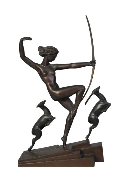 Marcel-André Bouraine (1886-1948), an Art Deco cold-painted bronze group 'Diana with fawns', c.1930, signed 'Bouraine' on base