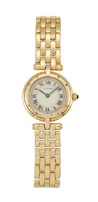 A lady's 18ct. gold 'Panthere Vendome' quartz wristwatch, by Cartier