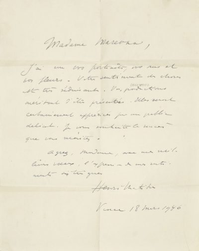 Lot 79. A letter from Henri Matisse to Marie Vorobieff Marevna, 1946. £3,000 – £5000