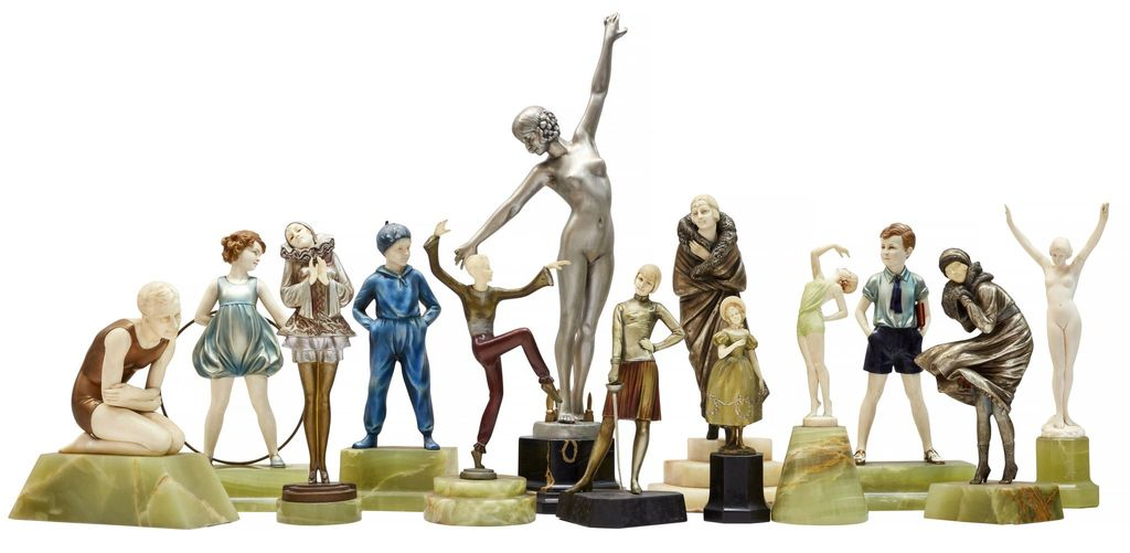 This exceptional collection of 60 Art Deco sculptures from the estate of a private UK collector is not only rare because of its size, it also holds names including Dimitri Chiparus, Ferdinand Preiss, Professor Otto Poertzel, Josef Lorenzl and Paul Philippe.