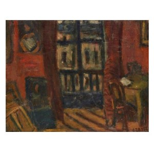 Bela Czobel, Hungarian 1883-1976- Intérieur à Paris, late 1920s; oil on canvas