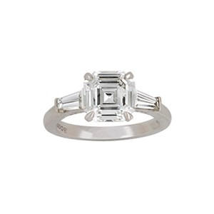 A platinum and diamond single stone ring, by Boodles, the Asscher-cut diamond  Price Realised: £16,875